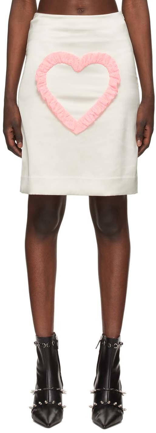 Ashley Williams White Satin Love Me Skirt