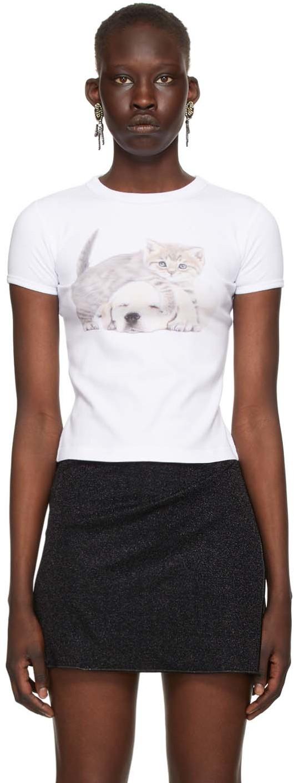 Ashley Williams White Kitten & Puppy Baby Tee