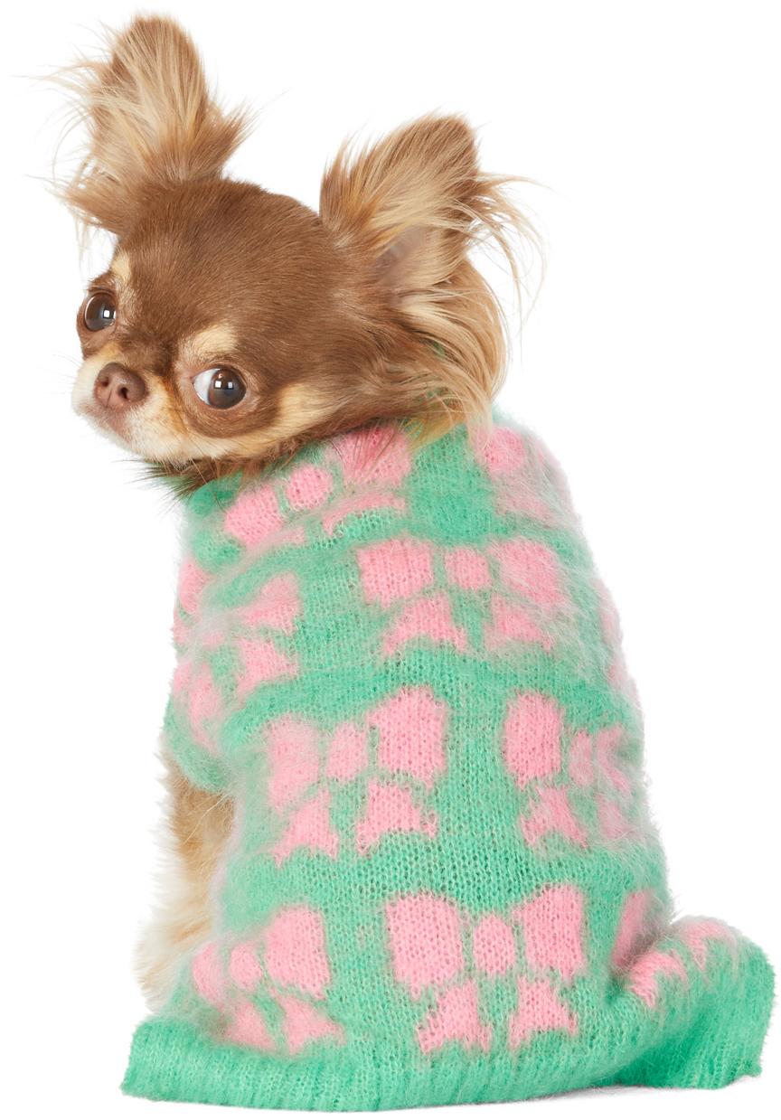 グリーン & ピンク インタルシア Bows ドッグ セーター