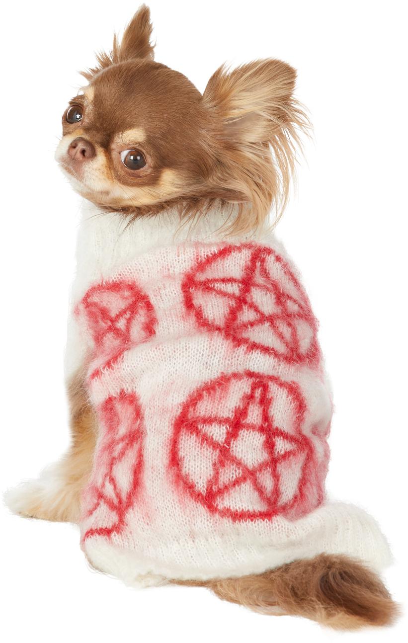 ホワイト & レッド インタルシア Pentagram ドッグ セーター