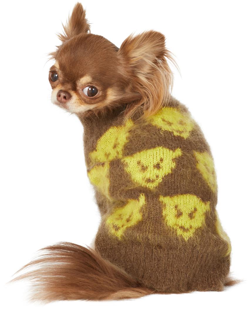 ブラウン & イエロー インタルシア Devil ドッグ セーター