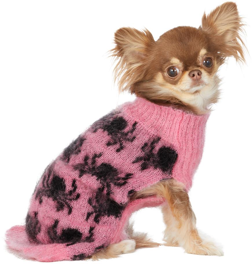 ピンク & ブラック インタルシア Spiders ドッグ セーター