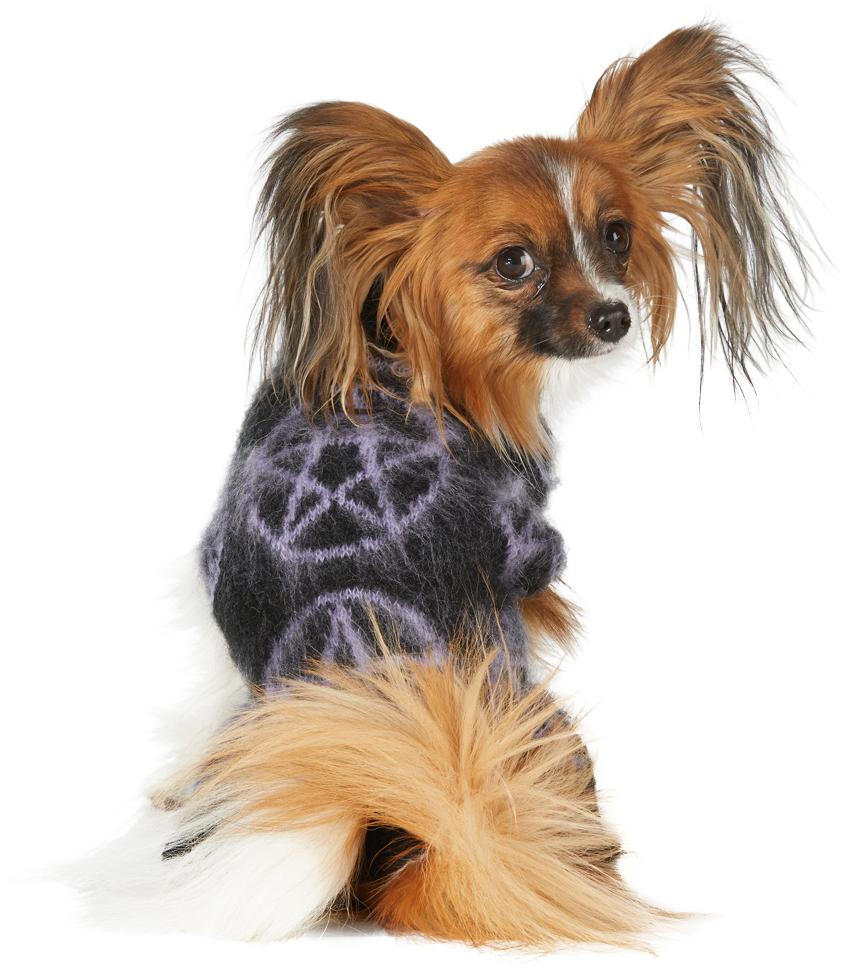 ブラック & パープル モヘア ペンタグラム セーター