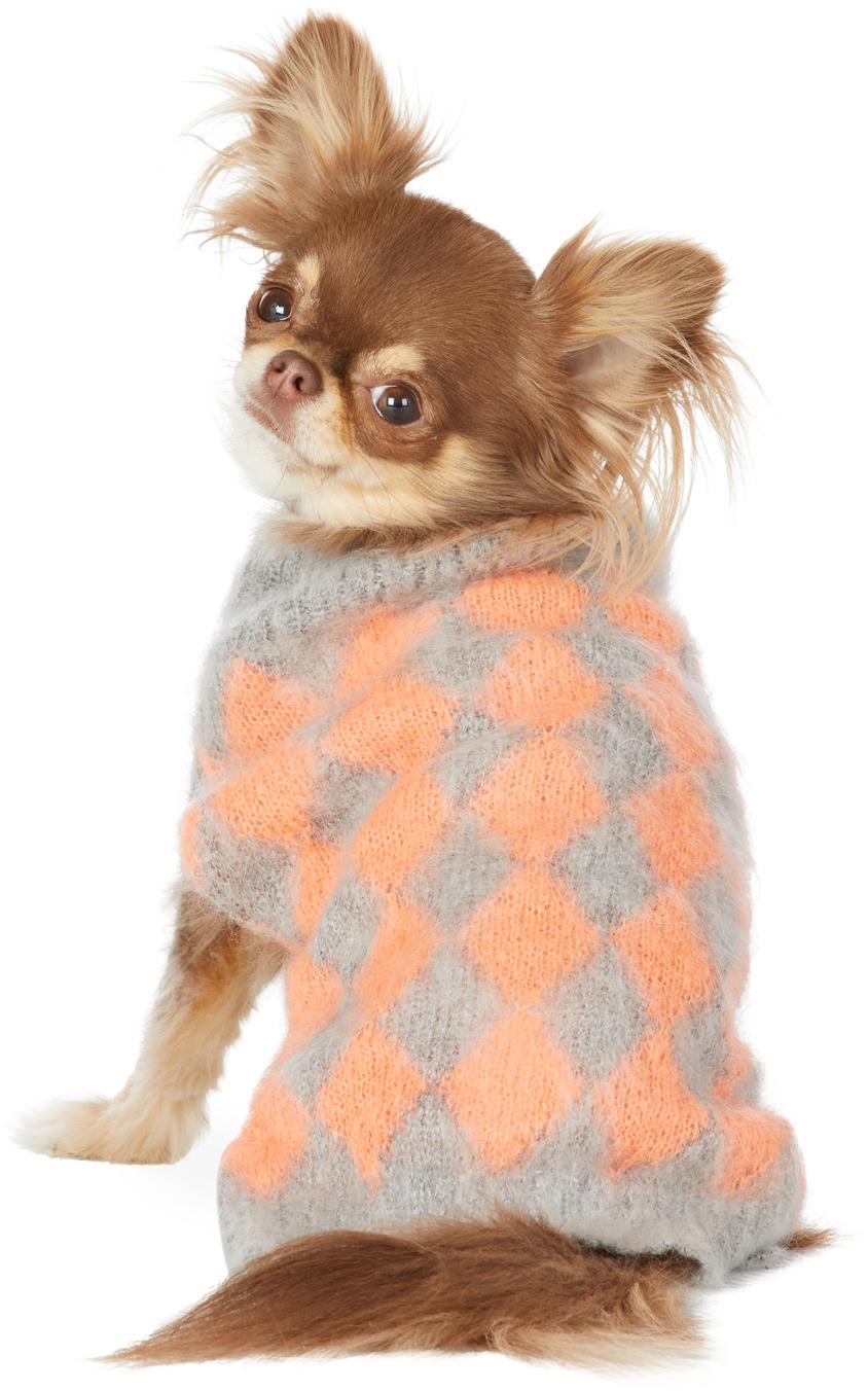 グレー & オレンジ モヘア セーター
