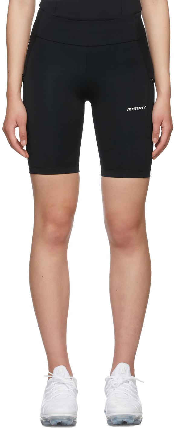 Black Lycra Techno Sport Biker Shorts