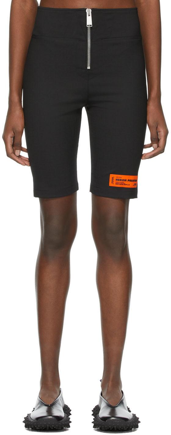 Heron Preston 黑色徽标贴饰拉链短裤