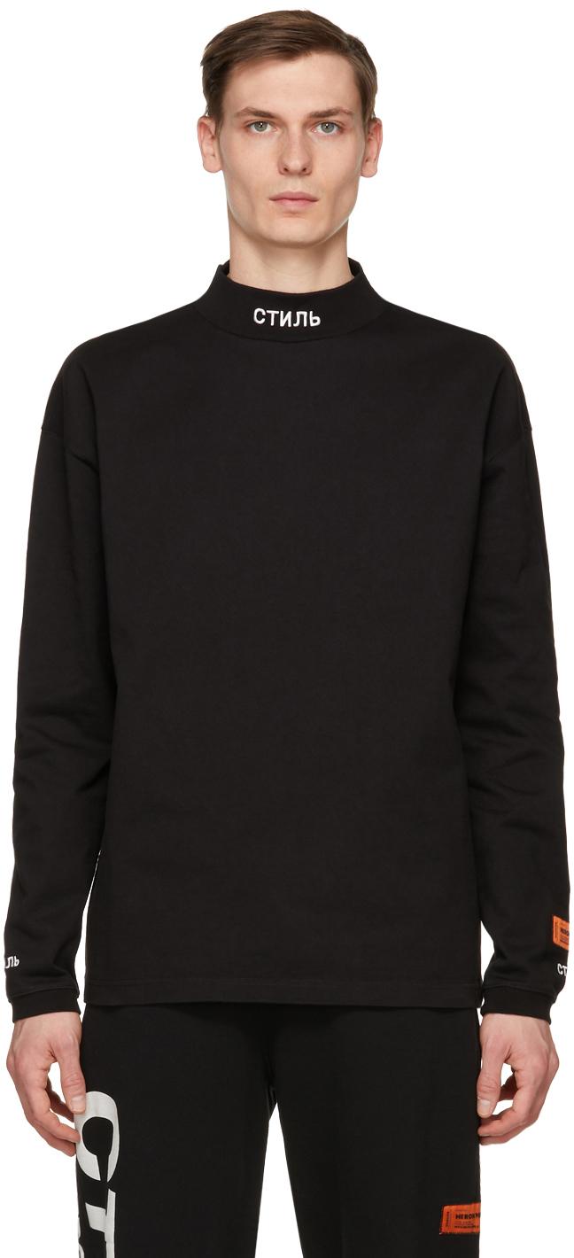 Black 'Style' Mock Neck Long Sleeve T-Shirt