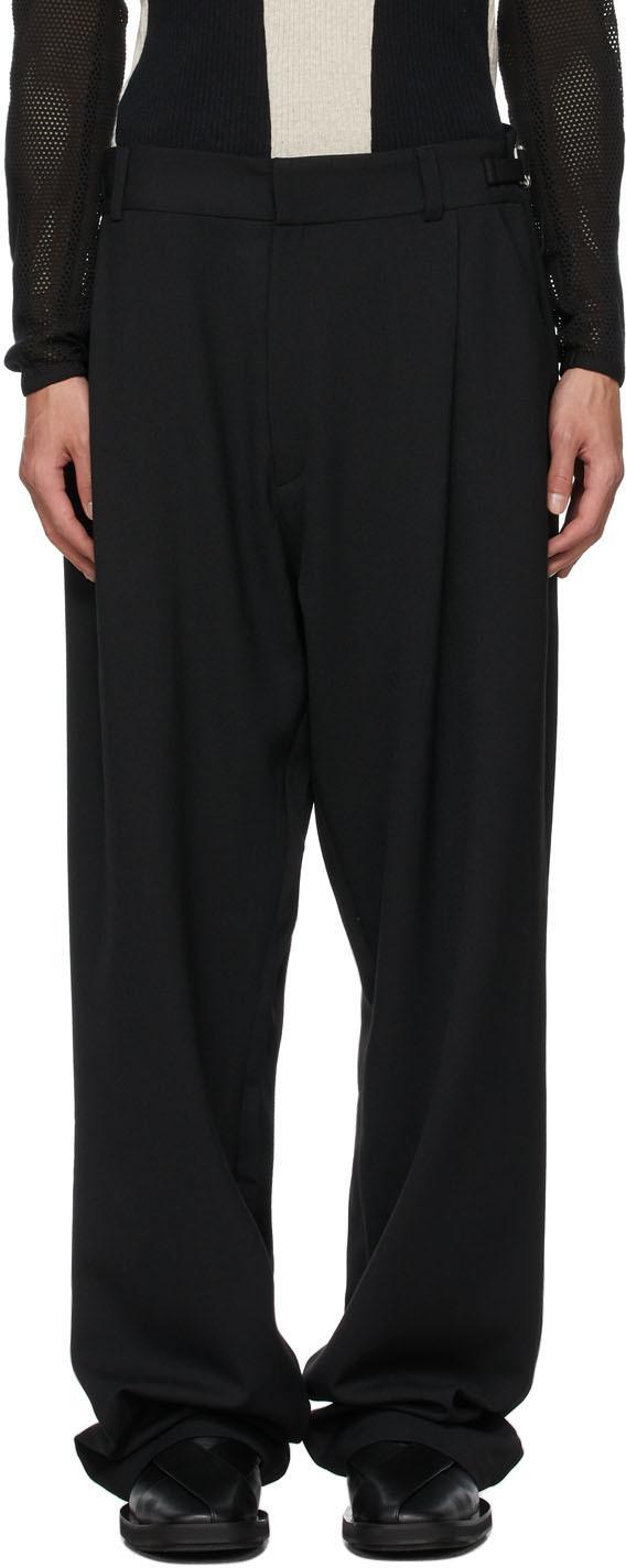 Black Wool Tarek Trousers