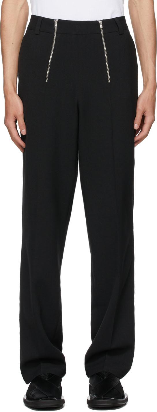 Black Wool Talc Trousers