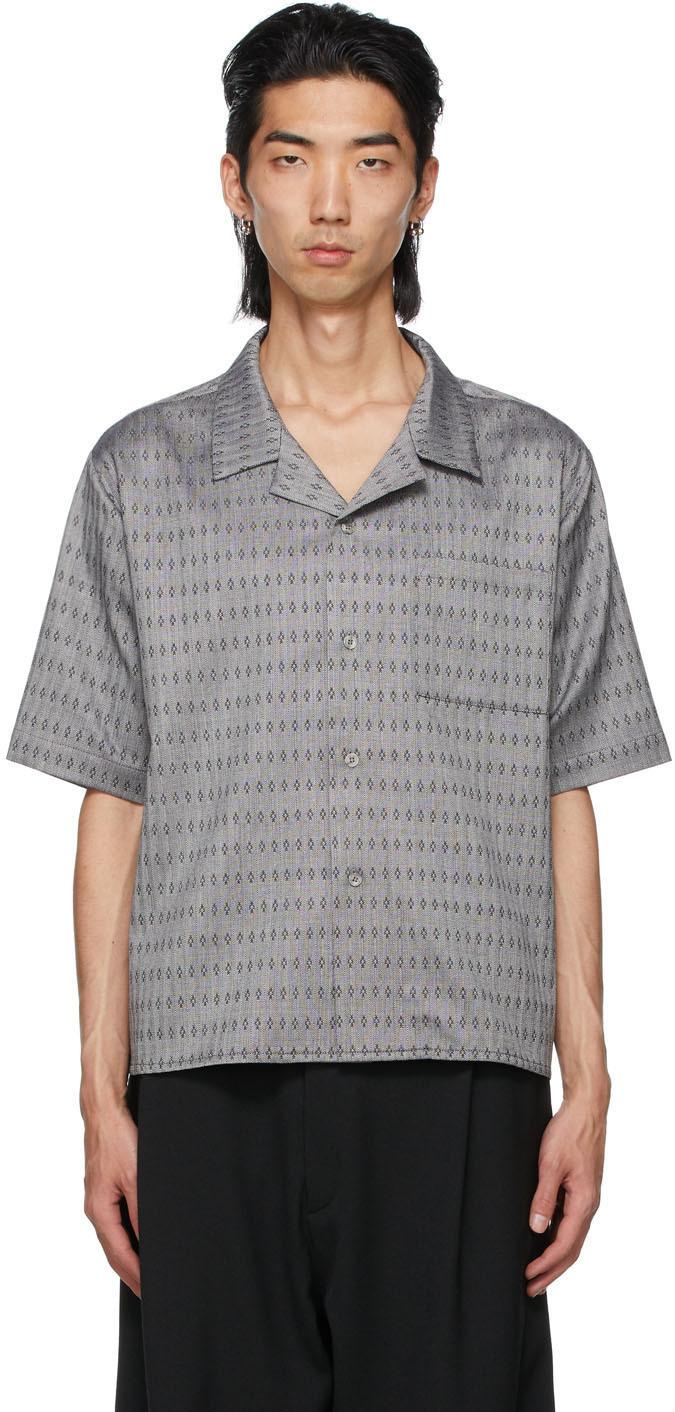 Grey Wool Jacquard Luka Short Sleeve Shirt