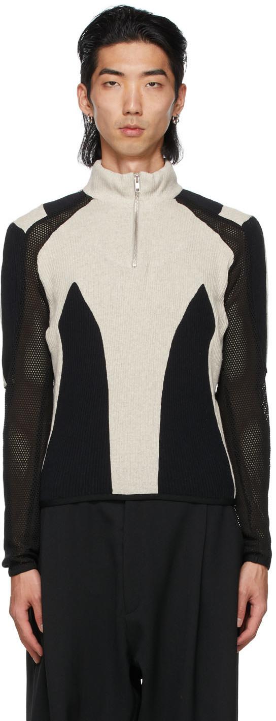 Black & Grey Paneled Atris Zip-Up Sweater