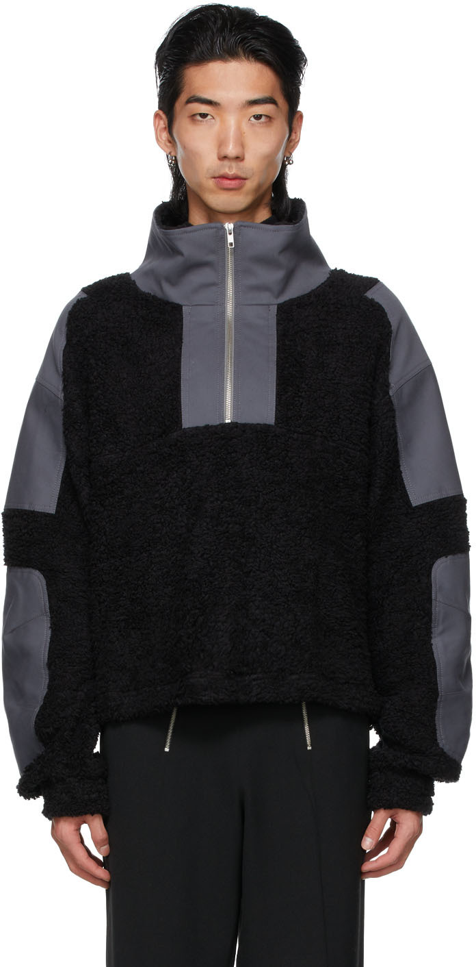 Black & Grey Paneled Mathis Zip-Up Jacket