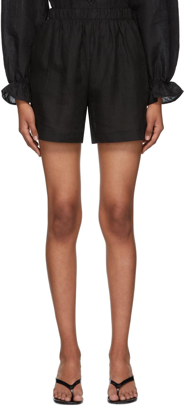 Black Linen Lucie Shorts
