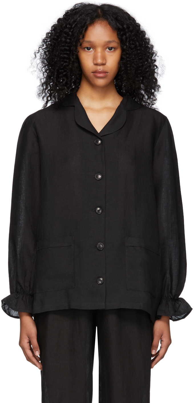 Black Linen Chloe Shirt