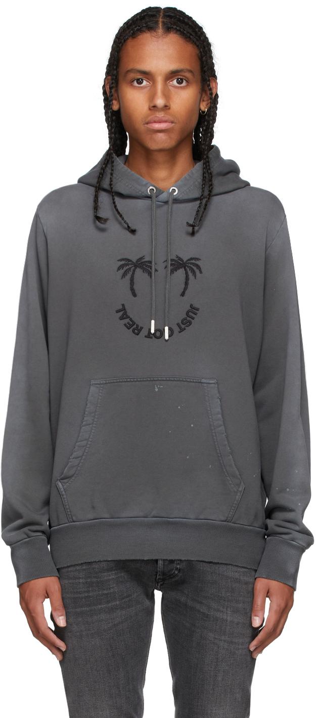 Grey Palm Print Hoodie