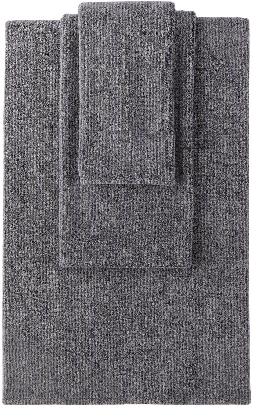 Grey & Navy Stripe Towel Set