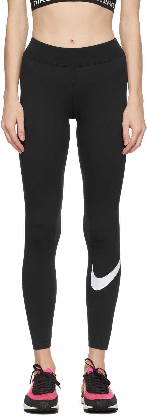 Black Sportswear Essential Swoosh Leggings