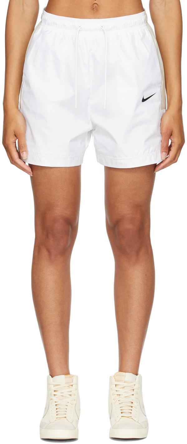 White & Beige Sportswear Shorts