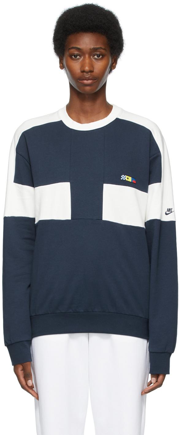 Predownload: Nike Navy Sportswear Reissue Crew Sweatshirt Ssense [ 1419 x 584 Pixel ]
