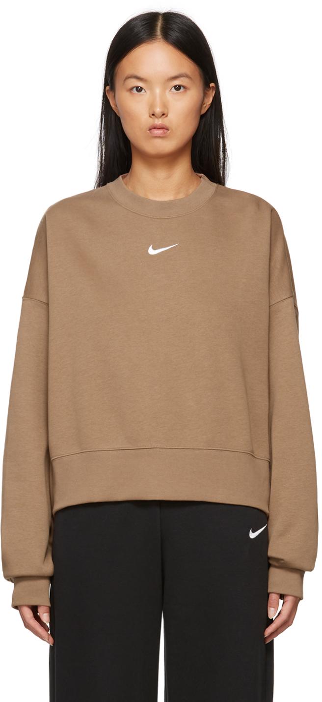 Brown Sportswear Essential Cropped Sweatshirt