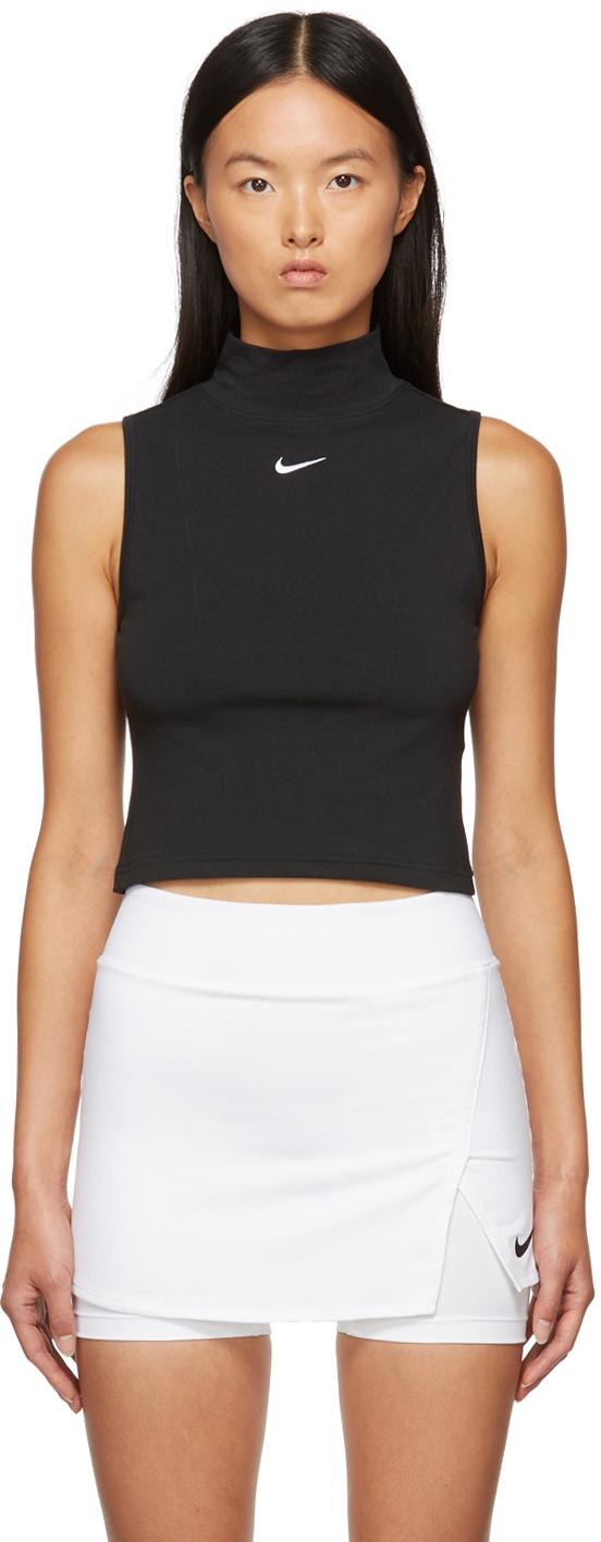 Black Sportswear Mock Neck Tank Top