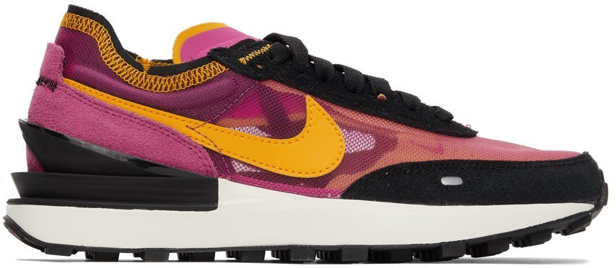 Black & Pink Waffle One Sneakers