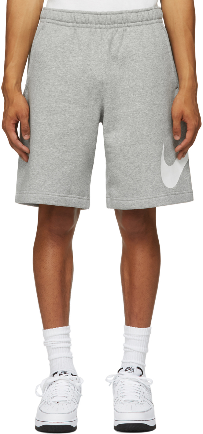 Grey & White Fleece Sportswear Club Shorts