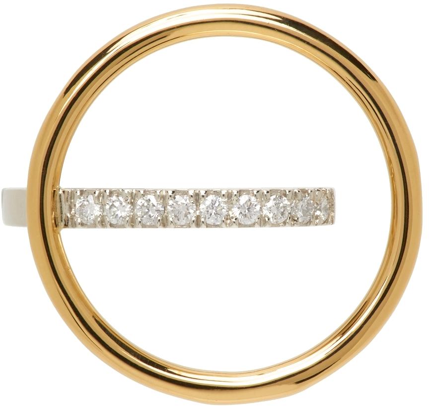 Gold Saturn Diamond Ear Cuff