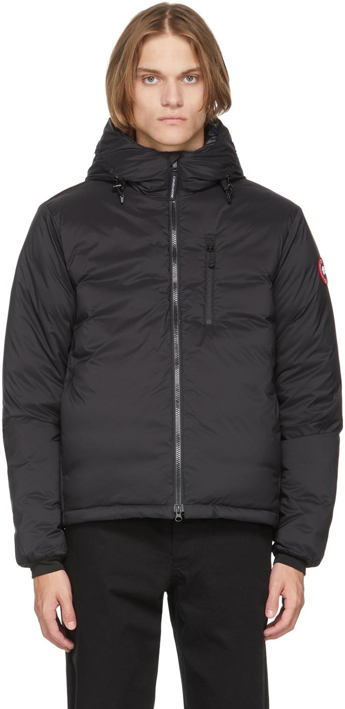 Black Down Packable Hooded Lodge Jacket