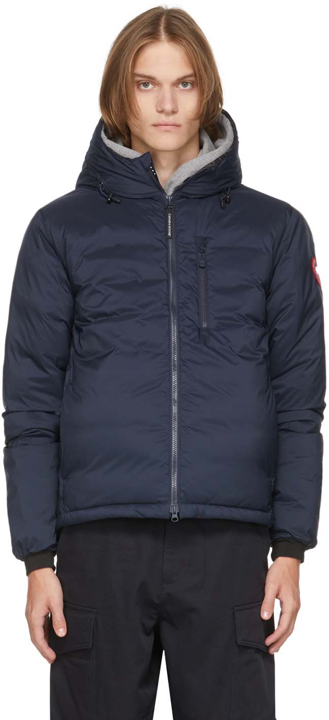 Navy Down Packable Hooded Lodge Jacket