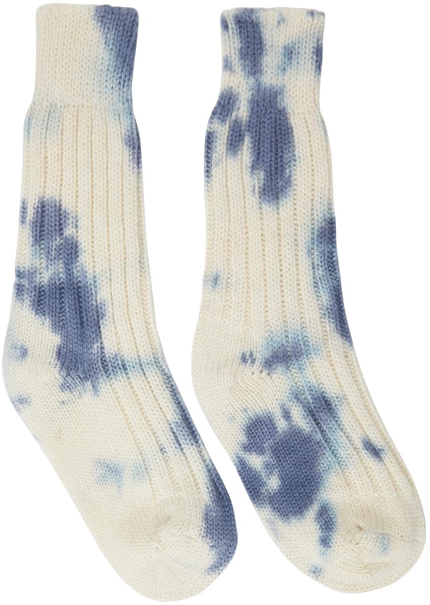 Off-White & Blue Hot Yosemite Tie-Dye Socks