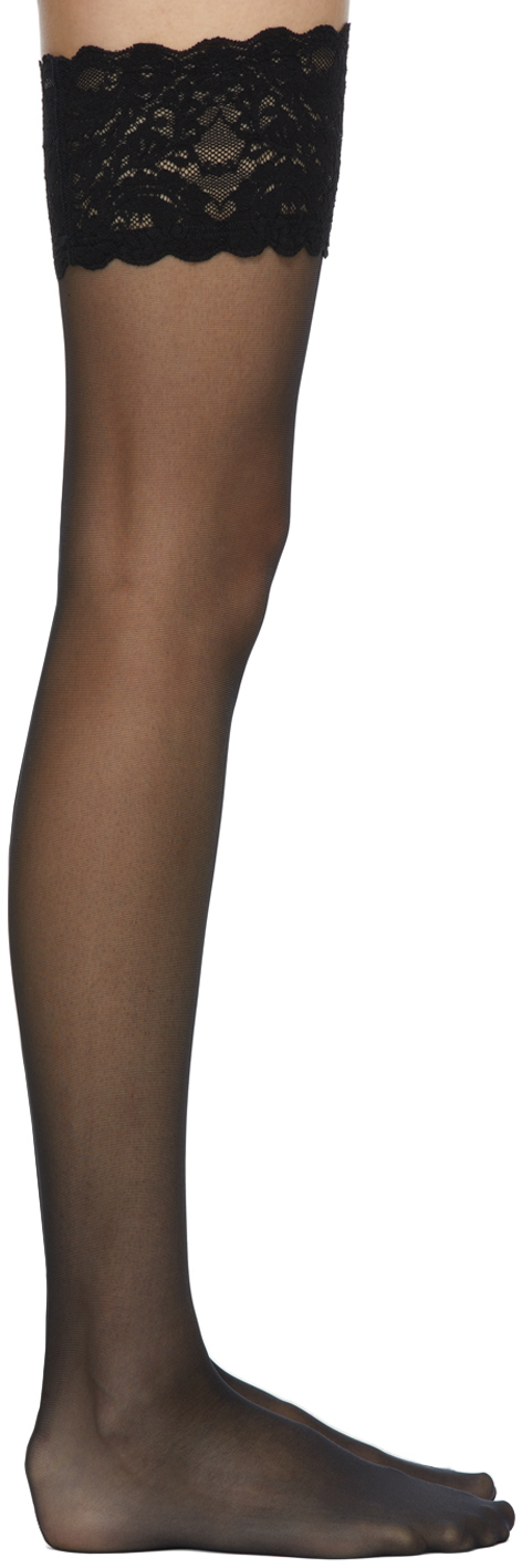 Black Satin Touch 20 Stay-Up Socks