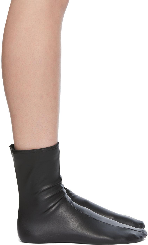 Black Amina Muaddi Edition Faux-Leather Socks