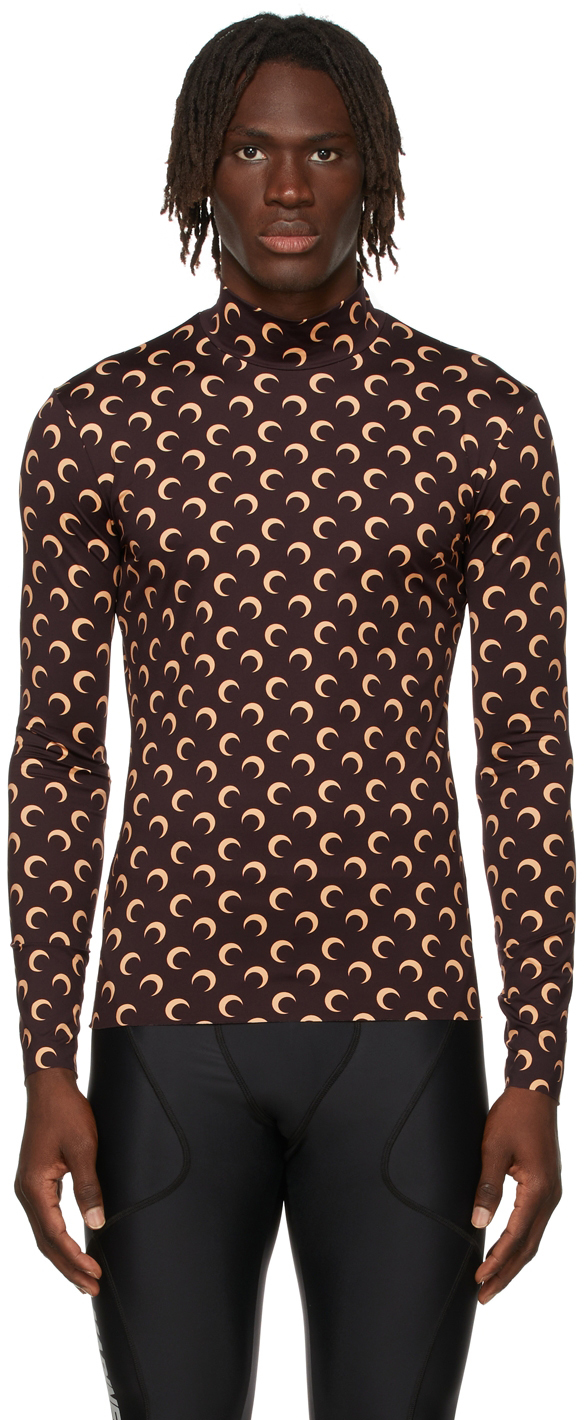 Brown All Over Moon Second Skin Turtleneck