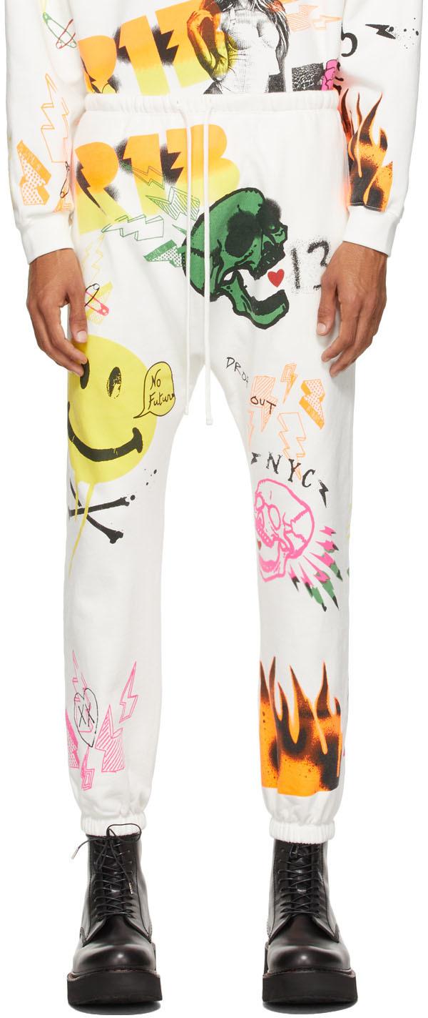 White Graffiti Drop Lounge Pants
