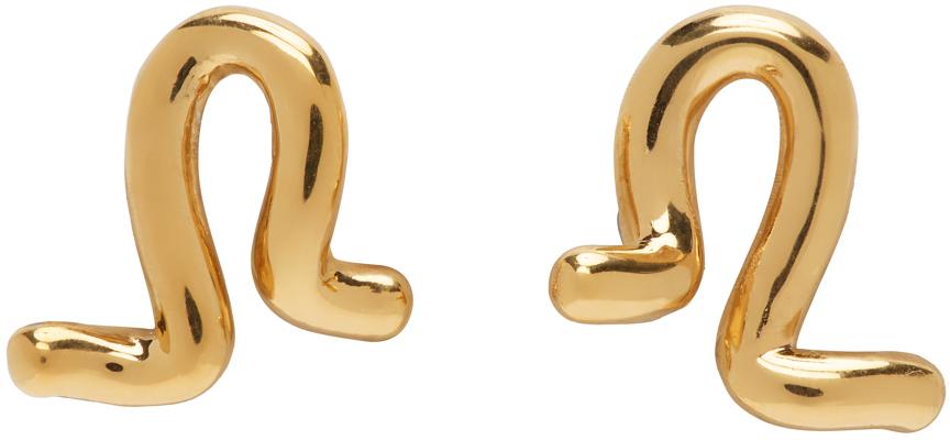 Gold Small Twist Stud Earrings