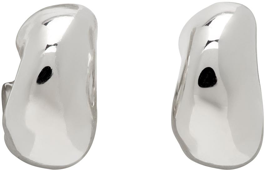 Silver Mini Dahlia Huggie Hoop Earrings