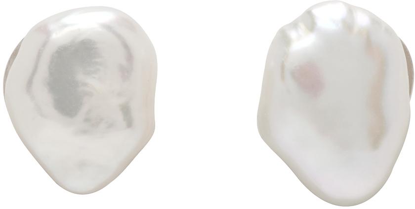 Silver & White Pearl Studs