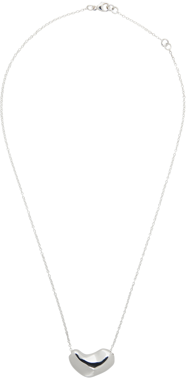 Silver Small Sculpted Heart Pendant Necklace