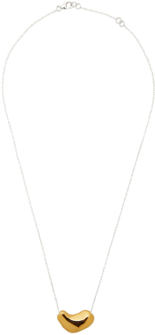 Silver & Gold Small Sculpted Heart Pendant Necklace