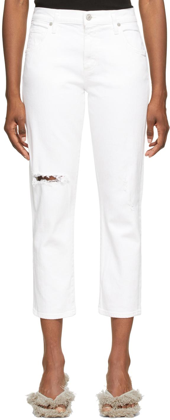 White Emerson Crop Slim Boyfriend Jeans