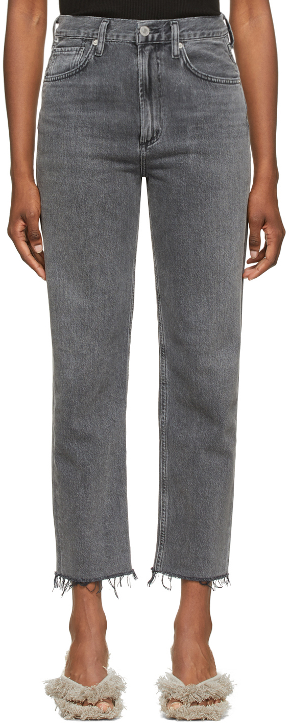 Grey Daphne Crop High-Rise Stovepipe Jeans