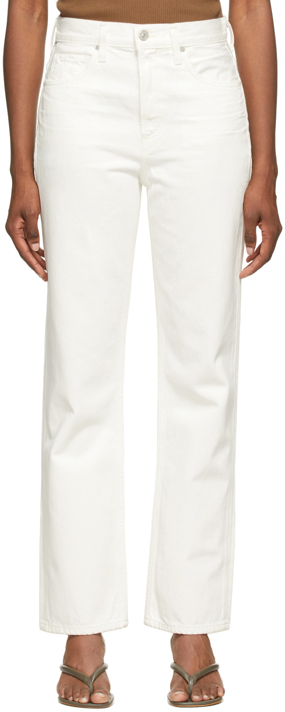 White Daphne High-Rise Stovepipe Jeans