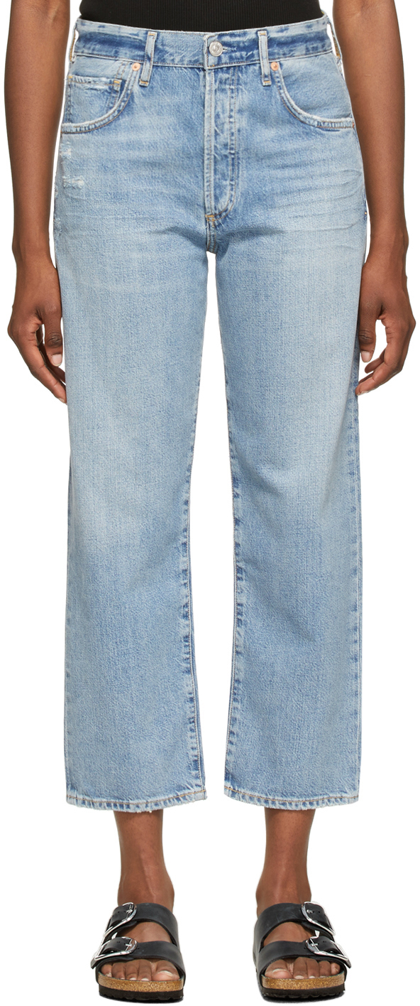 Blue Emery Crop Relaxed Straight Jeans