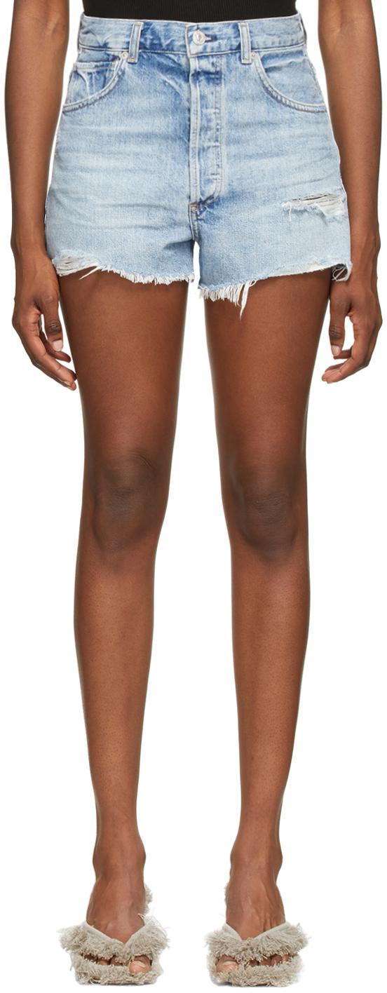 Blue Denim Kaia High-Rise Shorts