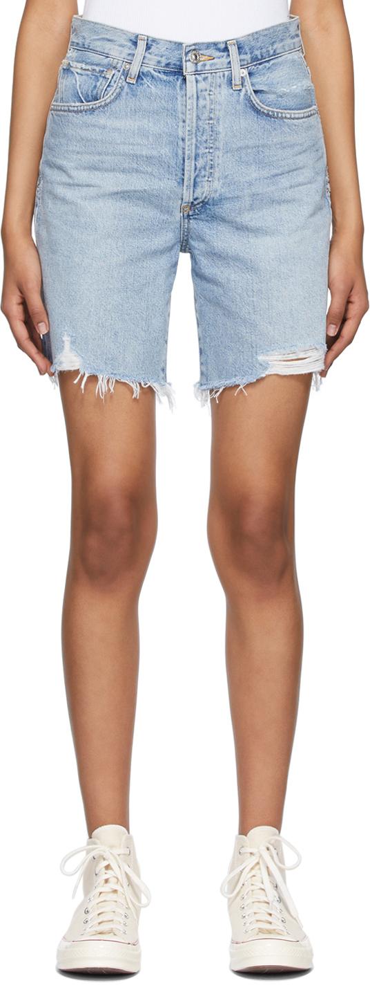 Blue Denim Camilla Frayed Hem Shorts