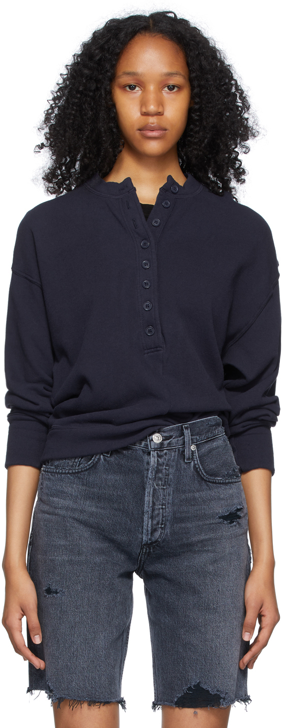 Navy Cora Henley Sweatshirt