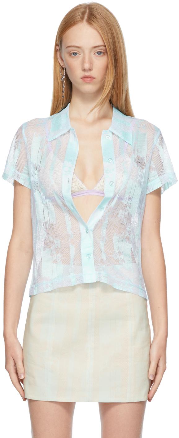 SSENSE Exclusive Blue Lace Short Sleeve Shirt