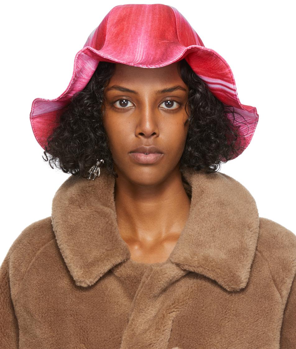 Pink & White Turip Printed Bucket Hat