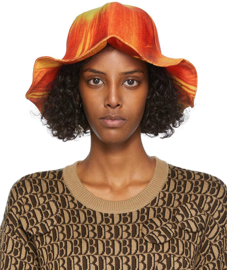Orange & Yellow Turip Printed Bucket Hat